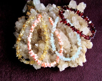 Bracelets, four different gemstone chip bracelets, citrine, coral, blue topaz, garnet, done with 12k gold filled beads and clasp, all 7 inch