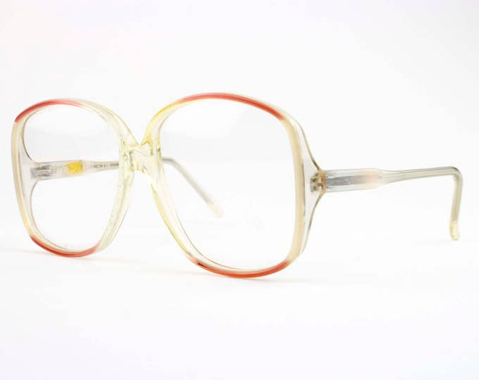 80s Vintage Eyeglasses | Clear Red Round Glasses | NOS 1980s Eyeglass Frame | Deadstock Eyewear - 219 XX