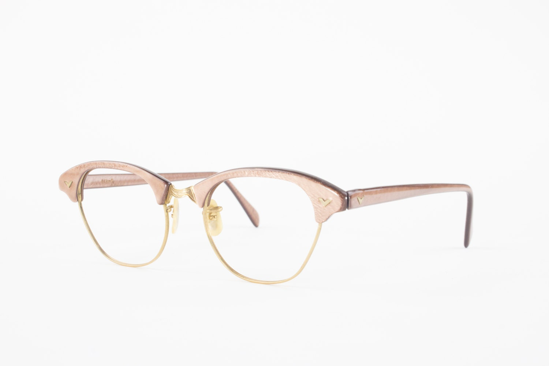 vintage 50s eyeglasses 1950s 12k gold filled horn rimmed