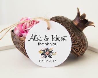 Custom Favor Tags, Wedding Thank You Tags, Personalized Favor Tags, 24 Wedding Gift Tags, Bridal Shower Favor Tags