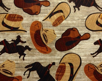 One Half Yard of Fabric Material  - Cowboy Hats