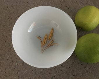 Vintage Fire King Oven Ware Bowl-Wheat Pattern Milk Glass-1960's-Made in USA.