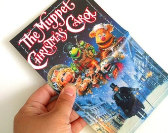 CLEARANCE SALE - Muppet Christmas Carol two pocket VHS cover Upcycled Vinyl Card Holder Wallet