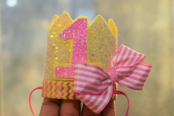 1st birthday crown, custom birthday hat, birthday photo prop, baby birthday outfit, Princess crown, pink and yellow crown
