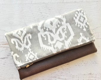 Ikat GreyCanvas & Brown Faux Leather Foldover Clutch - Gift for her, Birthday, Anniversary, Bridesmaid