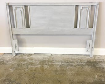 AVAILABLE: Grey Painted Queen Size Headboard
