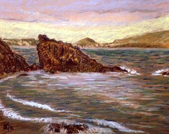 "Original Oil Pastel Painting, 12,5"" x 9,4"", Small size art, Impressionist Art, Burrero beach, Seascape, Atlantic, Coastal, Gran Canaria"