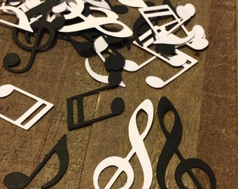 Black and White Music Notes Table Confetti / Musical Theme Party Decor Decoration Table Scrapbook Embellishments Centerpiece Die Cut C003