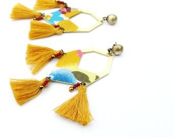 Earrings ethnic chic yellow tassels for women