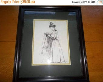 Save 25% Now Beautiful Vintage Framed Victorian Lady Print Double Mat Black Frame 18x21