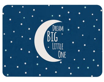 Dream Big Little One, Moon Rug, Star Rug, Nursery Quotes, Moon and Stars Nursery, Kids Bedroom Decor, Gift For Niece, Gift For Nephew, Kids
