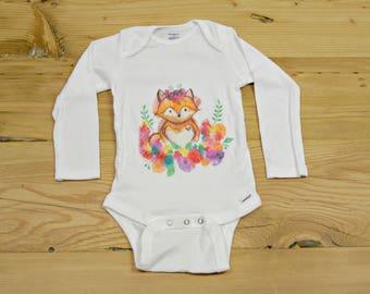 Garden Fox Onesie- Water Color Fox Onesie- Baby Fox Onesie- Fox And Flowers Onesie- Baby Fox Clothing