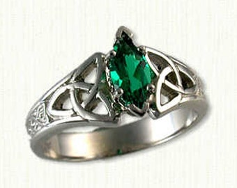 14kt White Gold Celtic Marishelle Engagement Ring Set with a 8.0 x 4.0  mm Marquise Chatham Emerald