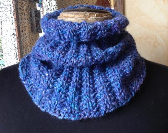 Handknit cowl - loop, collar - 100%  merino wool
