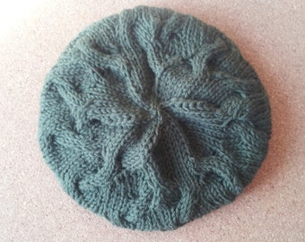 Star Crossed Slouchy Beret Hand knit Wool Hat Forest/Hunter Green