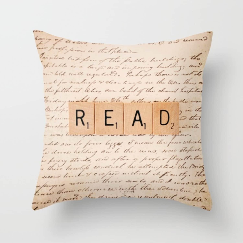 read book pillow literary t throw pillow teacher t