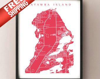 Catawba Island Map - Ohio Poster Print
