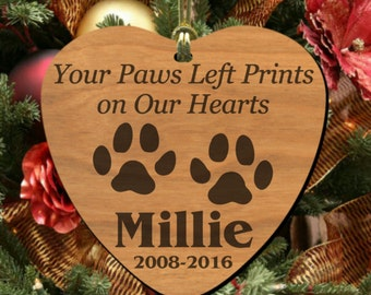 Paws Left Prints~ PERSONALIZED Pet Memorial Ornament, Wooden Keepsake to Remember Cat or Dog