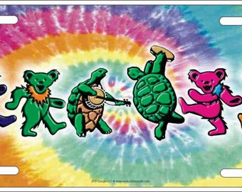 Dancing Terrapin Turtles and Iko Bears on a tie dye background personalized customized novelty Grateful Dead front license plate
