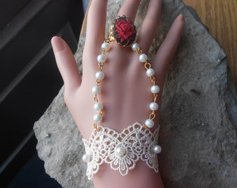 Choose Red/Black or Red/White - Rose Cameo Attached Bracelet and Ring - Glass Pearls - Bridal - Wedding