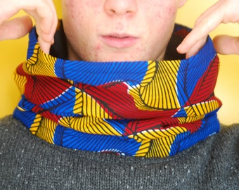 wax african fabric cowl scarf, red blue and yellow snood, furry fleece lined, winter snood, boy's accessory