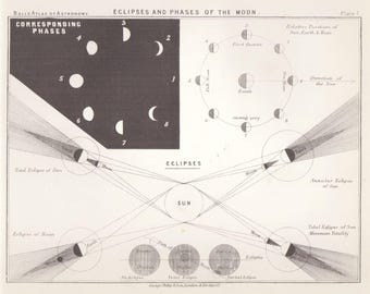 Antique Astronomy Print Eclipses Phases Moon Science Space  Celestial c.1905 Vintage Astronomy Print