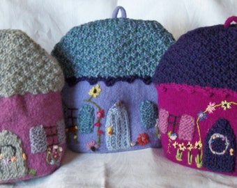 Your Choice! Felted & Crocheted Teapot or Appliance Cozy/Cosy House/Home Cover So Beautiful! Handmade Adorned Perfect Gift For the Collector