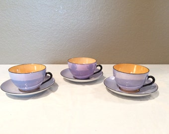Vintage Japanaese Blue & Gold Iridescent  Meito China  Set of Three Teacups and  Saucers Rare Colors! Signed