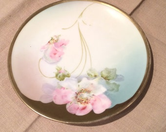 """Antique  Bavaria Hand Painted 6"""" Plate Floral  Gold Trim Stamped on Back"""