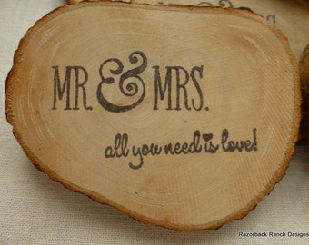 Wood Wedding Favors, Rustic Wedding Gift, Country Wedding Favor, Mr and Mrs favor, real wood round, rustic wood round, real wood wedding