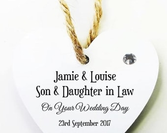 Son and Daughter in Law Personalised Heart Tag * Mini Plaque