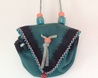 Medicine luck bag leather beaded necklace turquoise peach hippie boho festival
