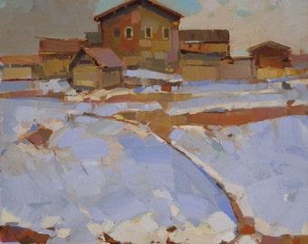 Village Winter Time, Landscape Original oil painting, handmade art, Signed