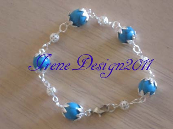 Handmade Silver Bracelet with Turquoise by IreneDesign2011