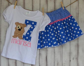 Personalized Birthday Puppy Dog Applique Shirt or Onesie Girl or Boy Skirt Sold Separately