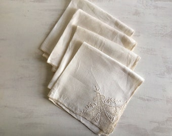 Vintage Ecru Linen Dinner Napkins With Lace & Needlework Inset