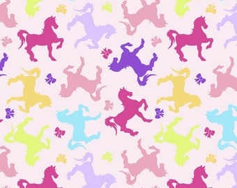 Horses and Bows Fabric FLANNEL Light Pink From Davids Textiles