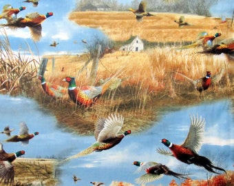 Wild Pheasants  Fabric From Quilting Treasures By the Yard