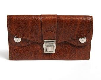 Vintage Synthetic Leather Woman Money Purse, Small Retro Brown Change Purse, Vintage Leather Portfolio, Folding Billfold, Vintage coin purse