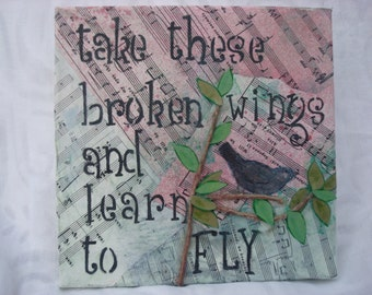 Black Bird: Typography collage and Beatles lyrical quote on canvas.