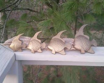 Set of 4 Vintage Brass Fish Wall Hanging