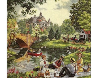 """Dimensions GOLD Picnic on the Lawn 12"""" X 14"""" counted cross stitch kit RARE"""
