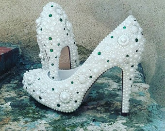 Cinderella Pearl & Crystal Blue Wedding, Bridal, Shoe's, Pumps