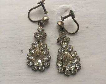 Art Deco paste/crystal teardrop dangle earrings