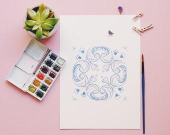 Watercolor Print - Vibrent Portugal - Intense Blue