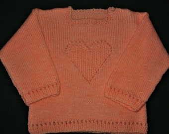 "Hand Knitted Heart Jumper in Peach  Chest 23""/58cm"