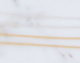 1.5mm x 1mm Tiny Curb Chain in Sterling Silver, Gold Filled, Chain by Foot, Bulk Silver and Gold Filled Chains, Tiny Curb Chains,SCNF149