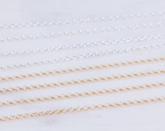 Tiny Rolo Cable Chain in Sterling Silver, Gold Filled, Chain Supplies, Top Quality Rolo Chains, Chains for Necklace and Bracelet, SCNF163