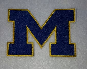 U of M Michigan Michigan University Iron on No Sew Embroidered Patch Applique
