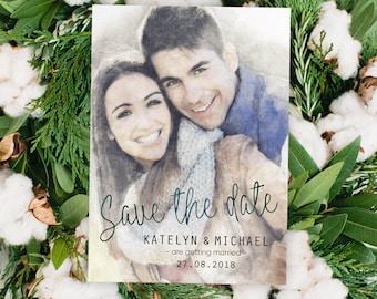 Digital Printable File Personalized Custom Photo Bride Groom Portrait Watercolor Painting Wedding Save the Date Invitation Set ID803